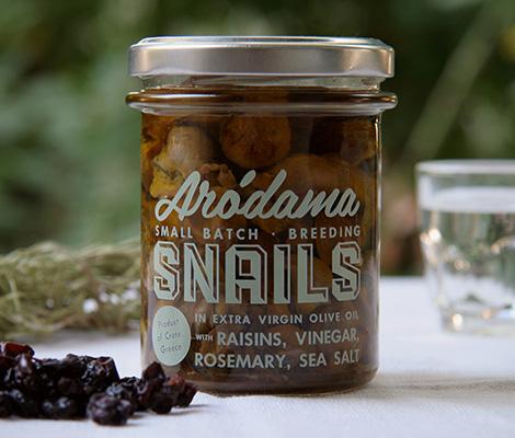 """Σαλιγκάρια σε ελαιόλαδο με δεντρολίβανο, ξίδι, σταφίδες & θαλασσινό αλάτι, Κρήτης """"Arodama"""" 100g"""